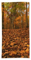 Autumn Path To The Forest Bath Towel