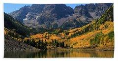 Bath Towel featuring the photograph Autumn Peaks by Paula Guttilla