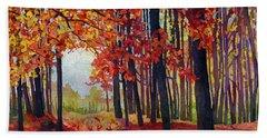 Autumn Rapture Hand Towel by Hailey E Herrera