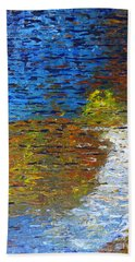 Bath Towel featuring the painting Autumn Reflection by Jacqueline Athmann