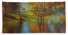 Bath Towel featuring the painting Autumn Reflections by Jeanette French