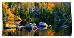 'autumn Reflections - Noyes Pond' Bath Towel