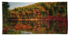 Autumn Reflections On The Clarion River Bath Towel
