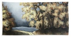 Bath Towel featuring the painting Autumn Road by Inese Poga