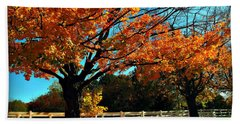 Hand Towel featuring the photograph Autumn Rows by Joan  Minchak