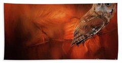 Autumn Screech Owl Hand Towel