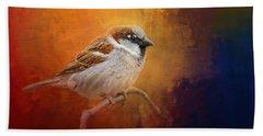 Autumn Sparrow Bath Towel by Jai Johnson