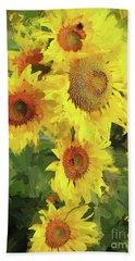 Autumn Sunflowers Hand Towel by Tina LeCour