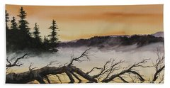 Bath Towel featuring the painting Autumn Sunset Mist by James Williamson