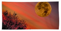 Hand Towel featuring the photograph Autumn Super Moon And Irish Sunrise by James Truett