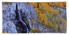 Autumn Surrounds Mist Falls In The Eastern Sierras Hand Towel