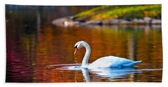 Autumn Swan Lake Hand Towel
