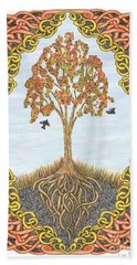 Hand Towel featuring the drawing Autumn Tree With Knotted Roots And Knotted Border by Lise Winne