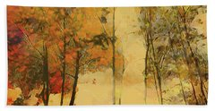 Autumn Trees Hand Towel by Nina Bradica
