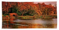 Autumn Trees On The Lake Hand Towel