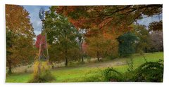 Bath Towel featuring the photograph Autumn Windmill by Bill Wakeley