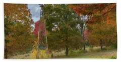 Bath Towel featuring the photograph Autumn Windmill Square by Bill Wakeley