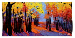 Autumnal Landscape Painting, Forest Trees At Sunset Bath Towel