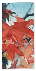 Hand Towel featuring the painting Autumn's Artistry by Barbara Jewell
