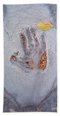 Autumns Child Or Hand In Concrete Hand Towel by Heather Kirk