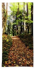 Hand Towel featuring the photograph Autumn's Trail by Trina Ansel