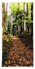 Bath Towel featuring the photograph Autumn's Trail by Trina Ansel