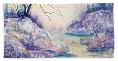 Hand Towel featuring the painting Autumnscape In Purple by Carolyn Rosenberger