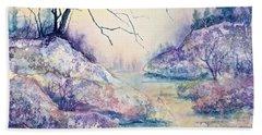 Autumnscape In Purple Hand Towel