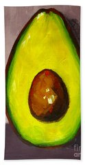 Avocado Modern Art, Kitchen Decor, Grey Background Hand Towel