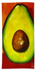 Avocado Modern Art, Kitchen Decor, Orange And Red Background Hand Towel