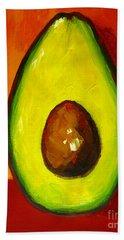 Avocado Modern Art, Kitchen Decor, Orange And Red Background Bath Towel