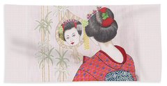 Ayano -- Portrait Of Japanese Geisha Girl Hand Towel