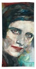 Ayn Rand - Watercolor Portrait.3 Bath Towel