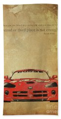 Ayrton Senna Inspirational Quote And Original Red Dodge Viper Handmade Portrait Hand Towel