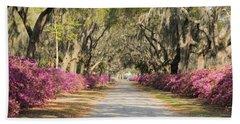 azalea lined road in Spring Bath Towel