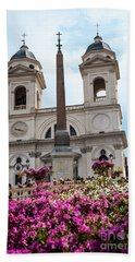Azaleas On The Spanish Steps In Rome Bath Towel