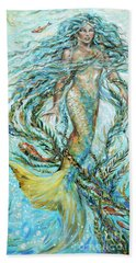 Hand Towel featuring the painting Azure Locks by Linda Olsen