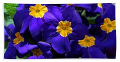 Bath Towel featuring the photograph Azure Primrose by Michiale Schneider