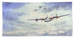 Hand Towel featuring the painting B-24 Liberator Aircraft Painting by Bill Holkham