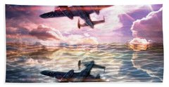Hand Towel featuring the digital art B-25b Usaaf by Aaron Berg