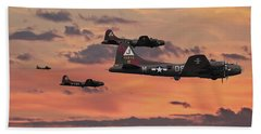 Hand Towel featuring the digital art B17 - Sunset Home by Pat Speirs