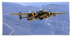 B25 Mitchell Flyby At Salinas Hand Towel