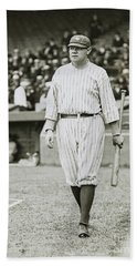 Babe Ruth Going To Bat Hand Towel