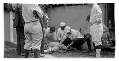 Babe Ruth Knocked Out By A Wild Pitch Hand Towel