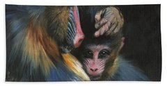 Baboon Mother And Baby Hand Towel by David Stribbling