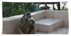 Baboon With A Sweet Tooth Bath Towel