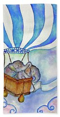 Baby Blue Elephants Hand Towel