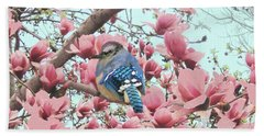 Baby Blue Jay In Magnolia Blossoms  Bath Towel by Janette Boyd