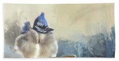 Baby Bluejay In Winter Hand Towel