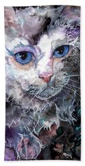 Hand Towel featuring the painting Baby Blues by Sherry Shipley